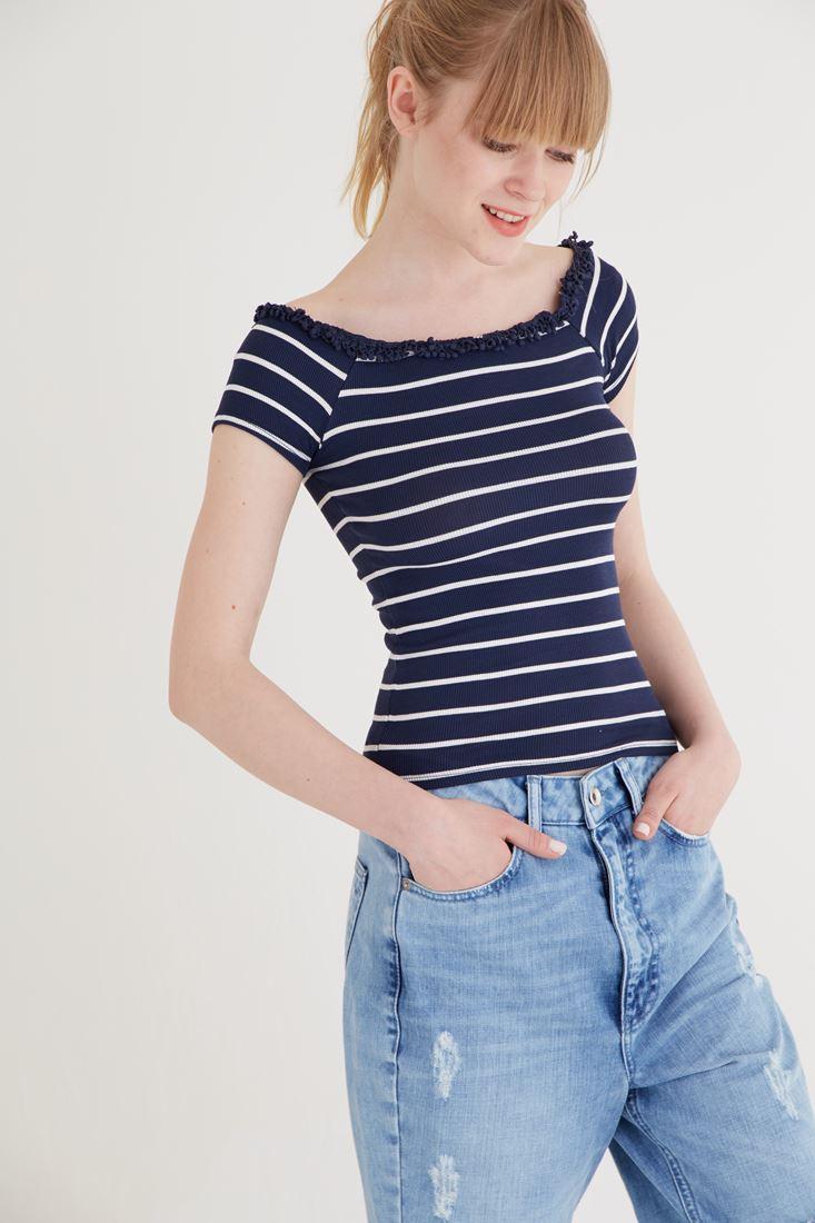 Bayan Lacivert Çizgili Tişört