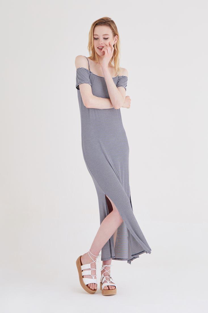 Bayan Lacivert Çizgili Elbise