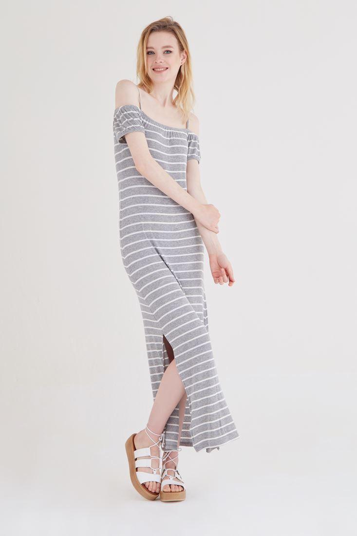 Bayan Beyaz Çizgili Elbise