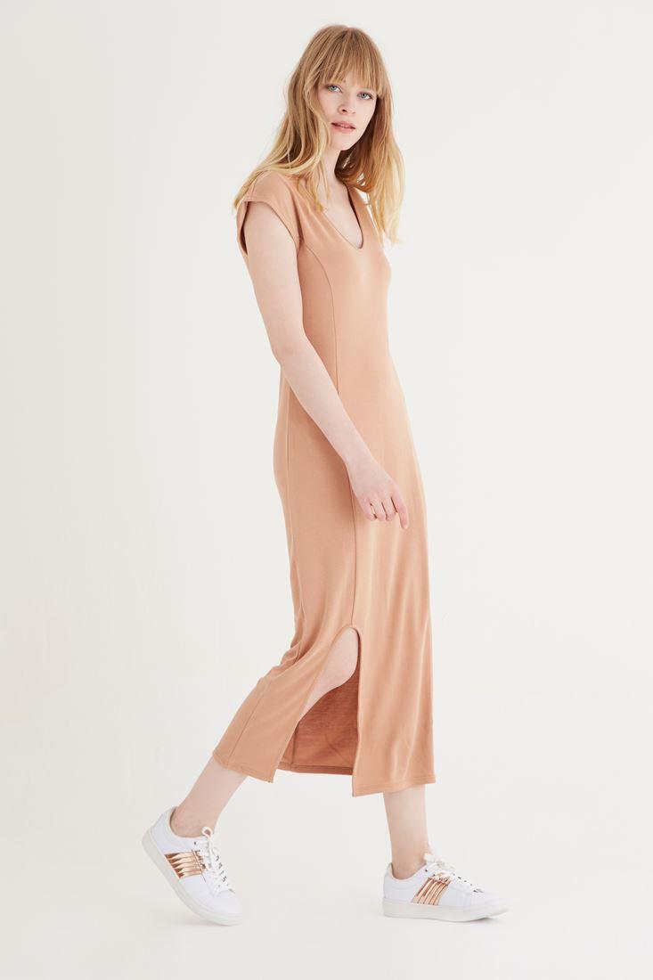 Bayan Kahverengi Uzun Elbise