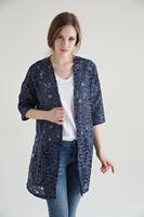 Bayan Lacivert Geometrik Desenli Yırtmaçlı Dantel Kimono