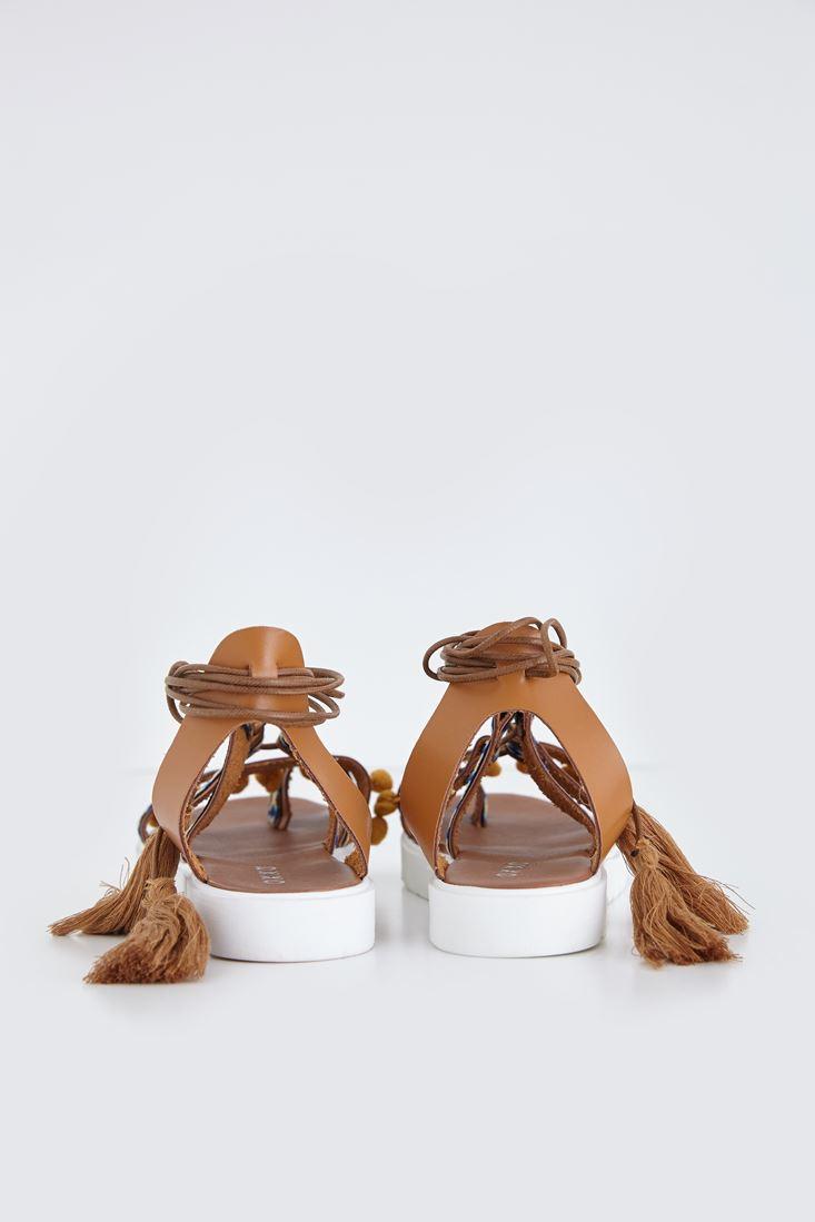 Bayan Kahverengi Bağcıklı Sandalet