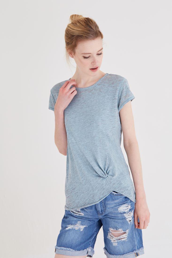 Bayan Mavi Büzgülü Tişört