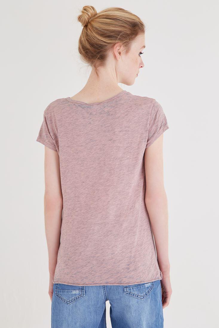Bayan Pembe Büzgülü Tişört