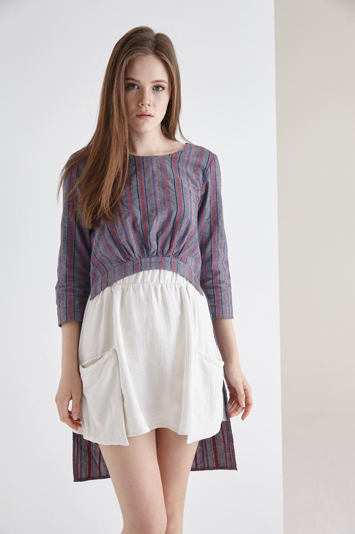Çok Renkli Arkası Uzun Önü Kısa Büzgülü Bluz