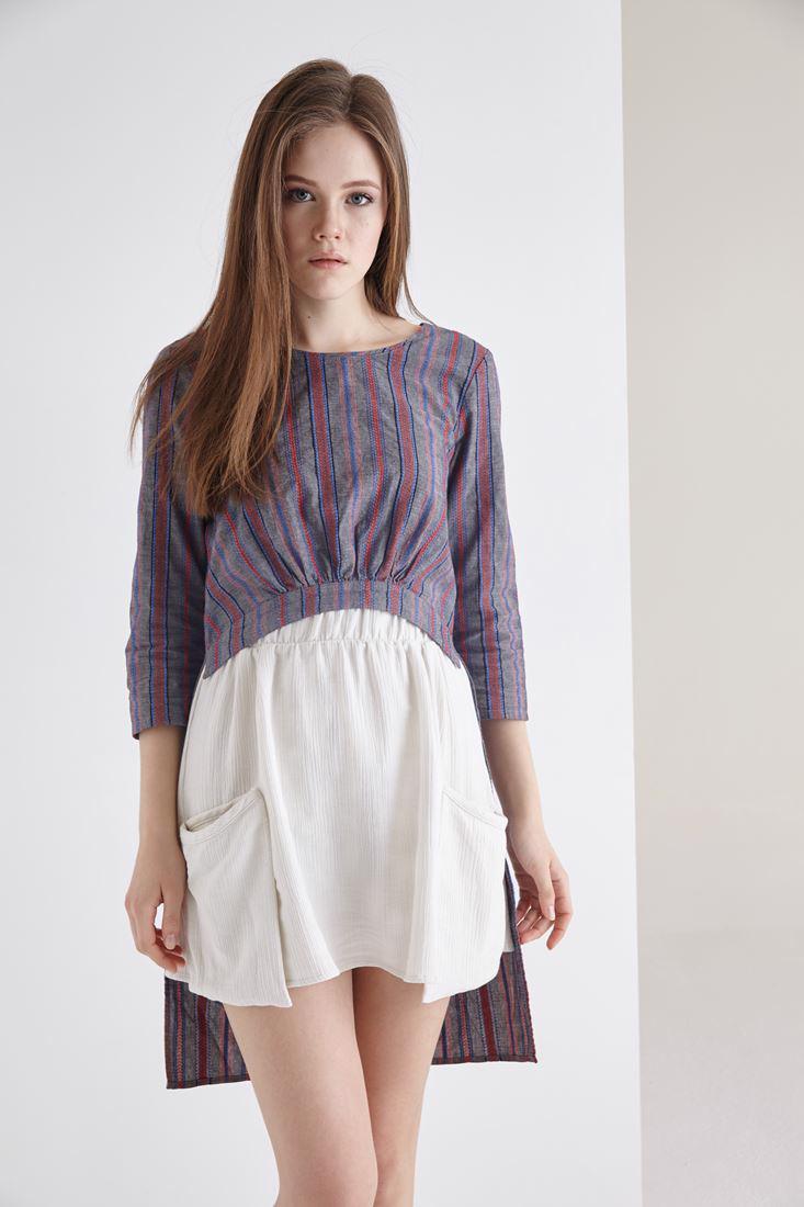 Bayan Çok Renkli Arkası Uzun Önü Kısa Büzgülü Bluz