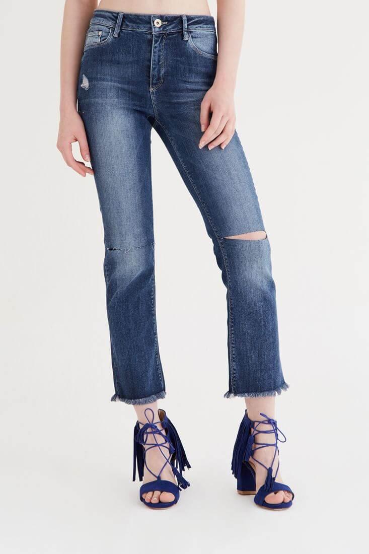 Mavi Ara Bel Kısa Paça Pantolon