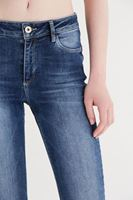 Bayan Mavi Ara Bel Kısa Paça Pantolon