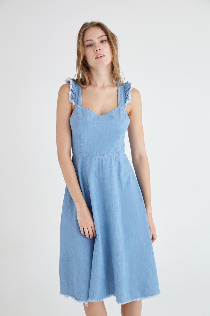 Bayan Mavi Fırfır Detaylı Midi Boy Denim Elbise