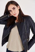 Bayan Siyah Fermuarlı Cep Detaylı Deri Görünümlü Ceket