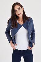 Bayan Lacivert Deri Görünümlü Ceket