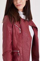Bayan Bordo Deri Görünümlü Ceket