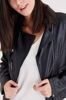 Bayan Siyah Fermuar Detaylı Deri Ceket