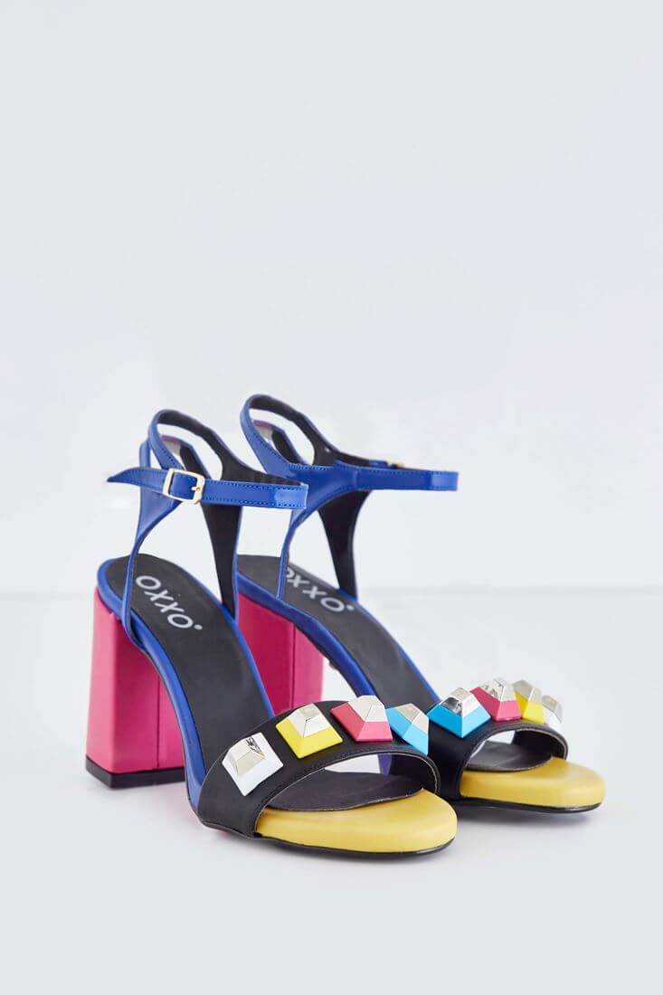 Çok Renkli Topuklu Ayakkabı