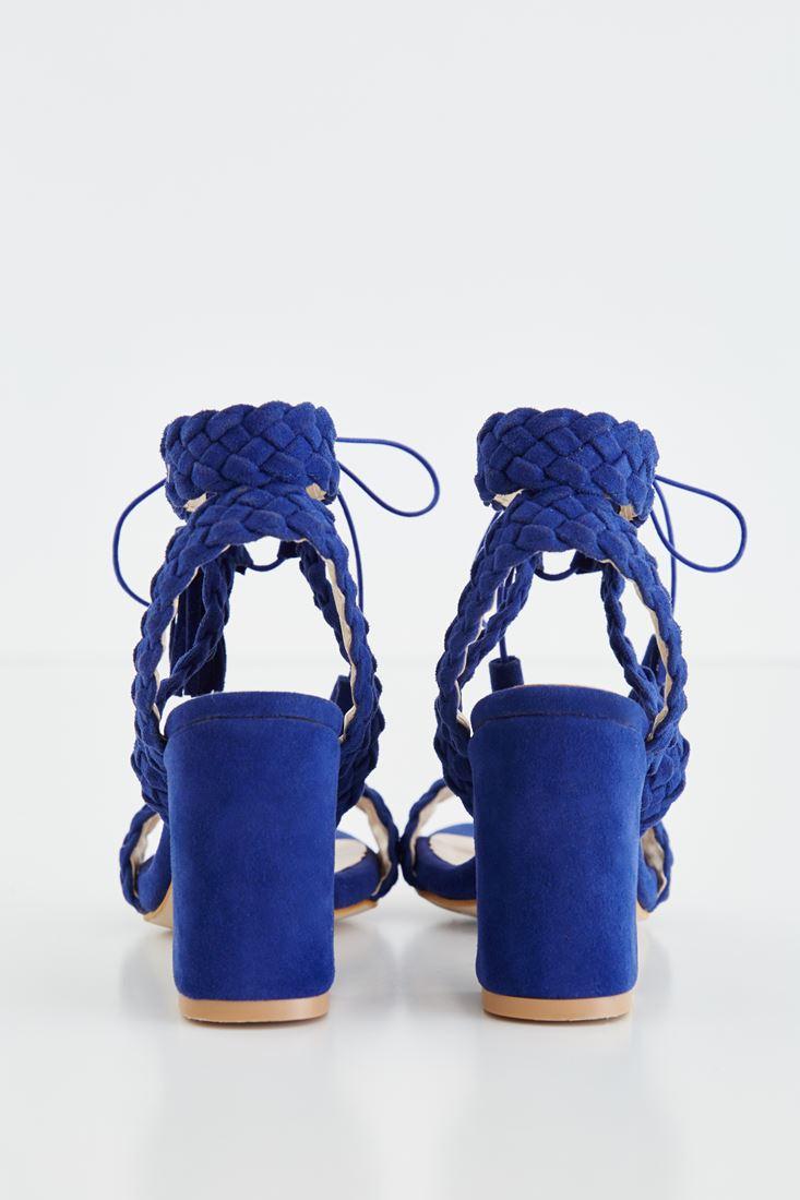 Bayan Mavi Örgü Detaylı Topuklu Ayakkabı