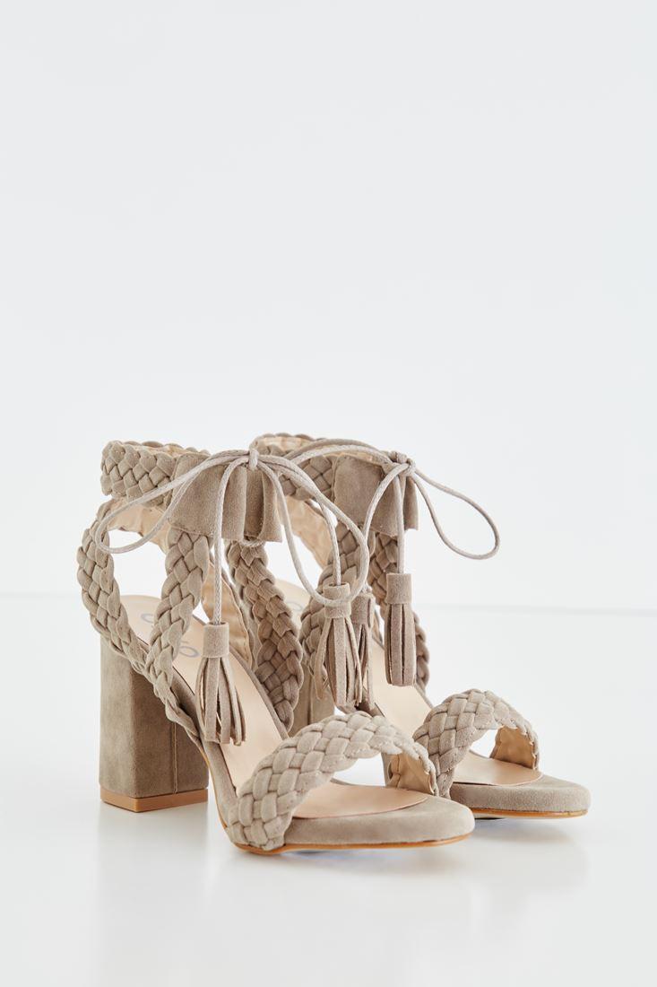 Örgü Detaylı Topuklu Ayakkabı