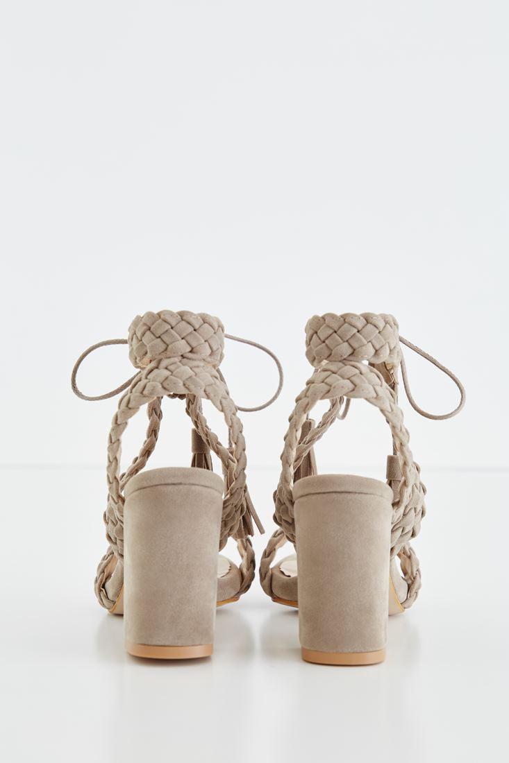 Bayan Gri Örgü Detaylı Topuklu Ayakkabı