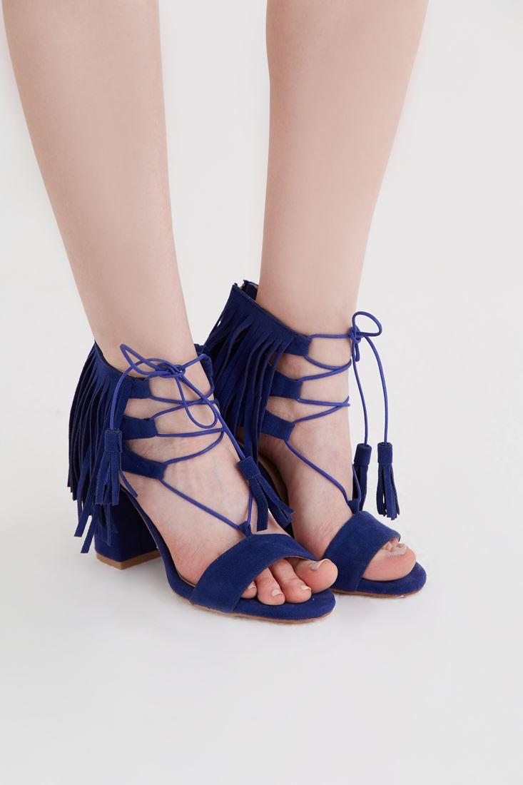 Bayan Mavi Püskül Detaylı Topuklu Ayakkabı