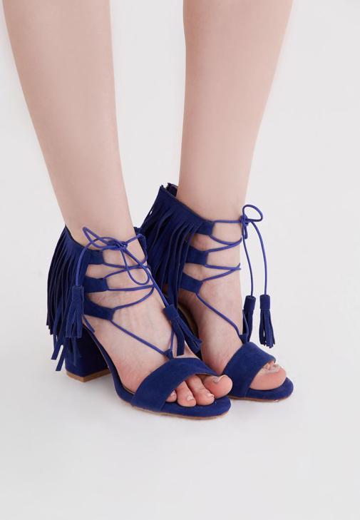Mavi Püskül Detaylı Topuklu Ayakkabı