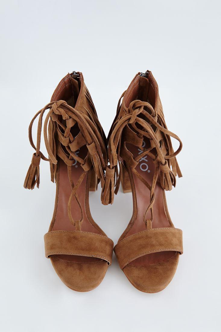 Bayan Kahverengi Püskül Detaylı Topuklu Ayakkabı