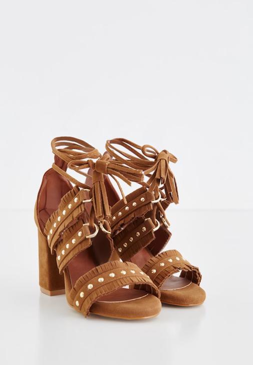 Kahverengi Zımbalı Topuklu Ayakkabı