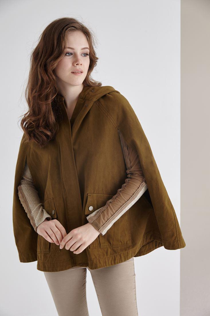 Bayan Yeşil Kapüşonlu Pelerin Ceket