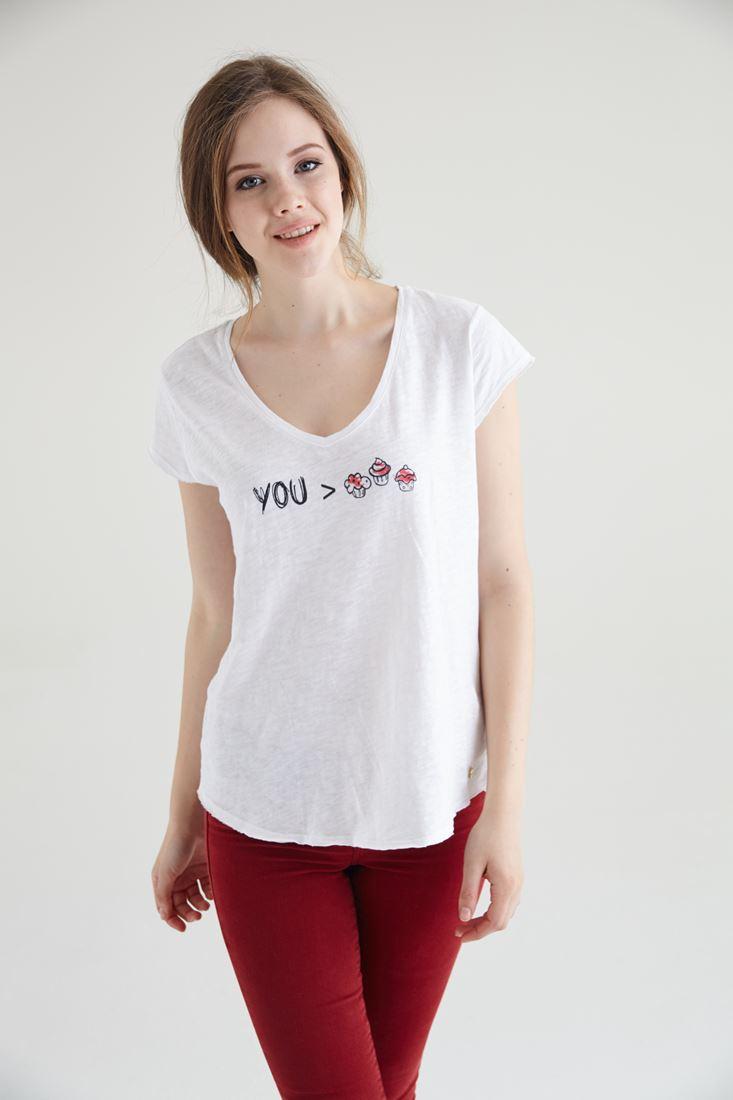 Bayan Beyaz Cupcake Baskılı V Yaka Tişört