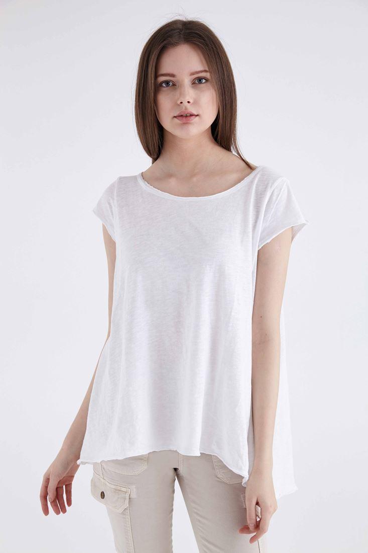Bayan Beyaz Geniş Yakalı Basic Tişört