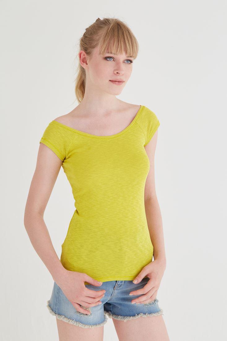 Bayan Sarı Bot Yaka Tişört