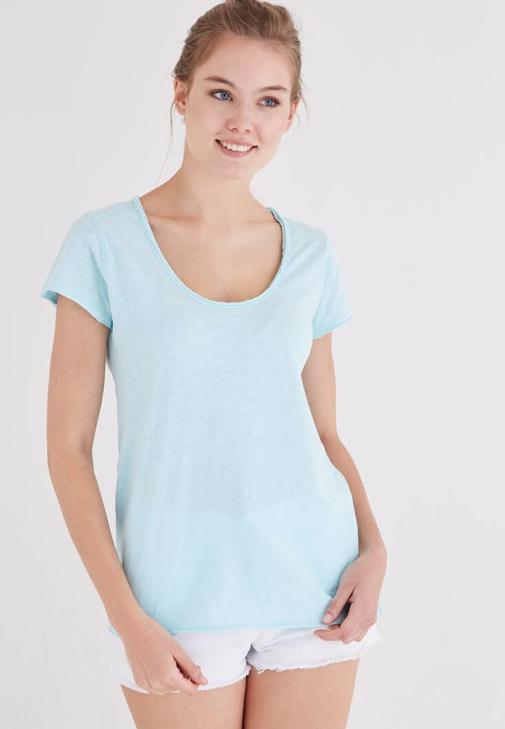 Mavi U Yaka Pamuklu Tişört