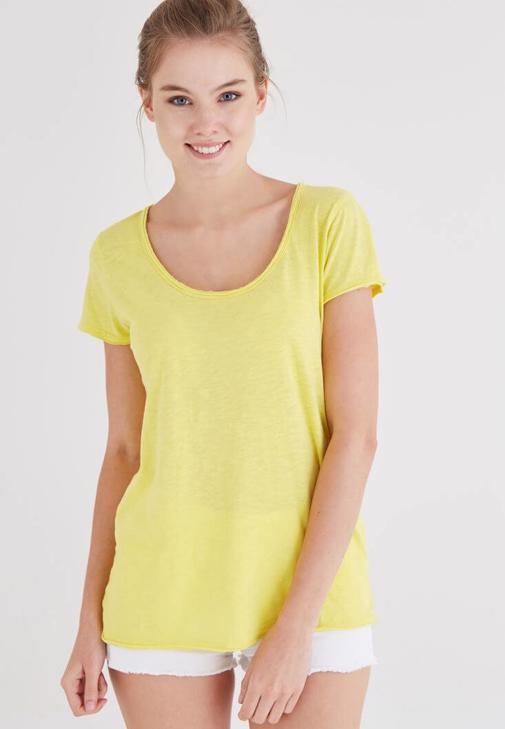 Sarı U Yaka Pamuklu Tişört