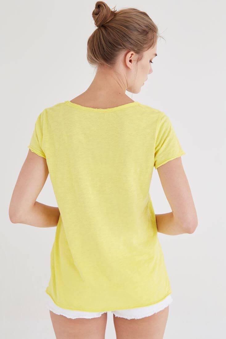 Bayan Sarı U Yaka Pamuklu Tişört