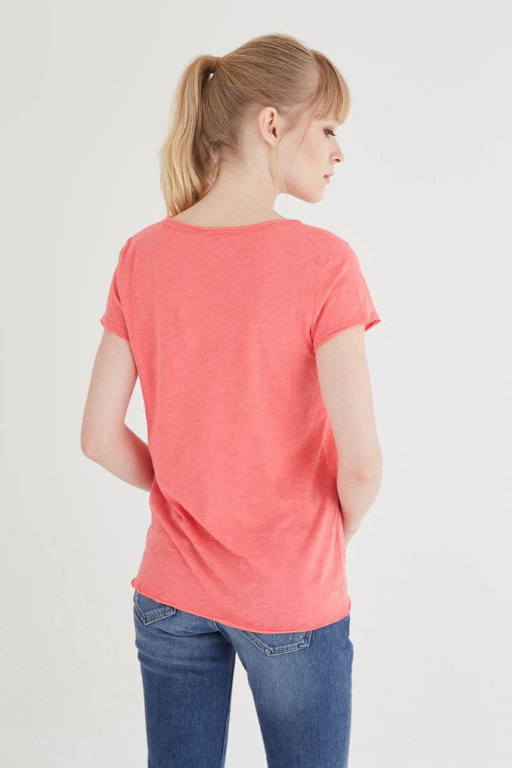 Bayan Pembe U Yaka Pamuklu Tişört