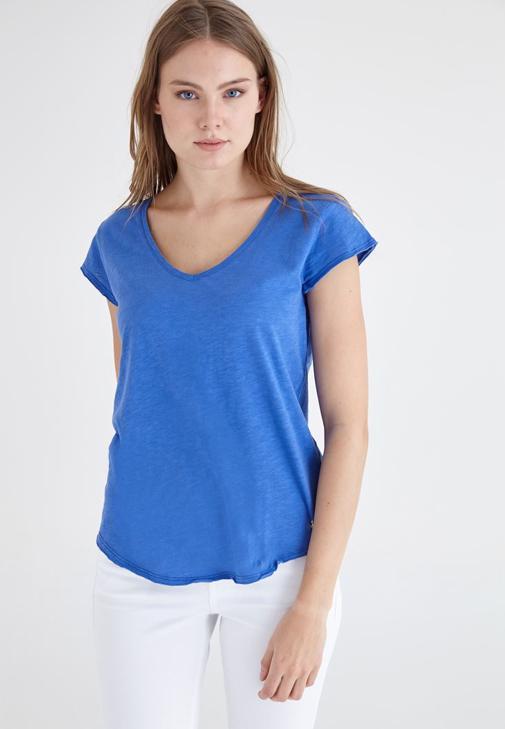 Mavi V Yaka Pamuklu Kısa Kollu Tişört