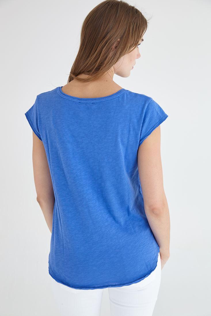 Bayan Mavi V Yaka Pamuklu Kısa Kollu Tişört