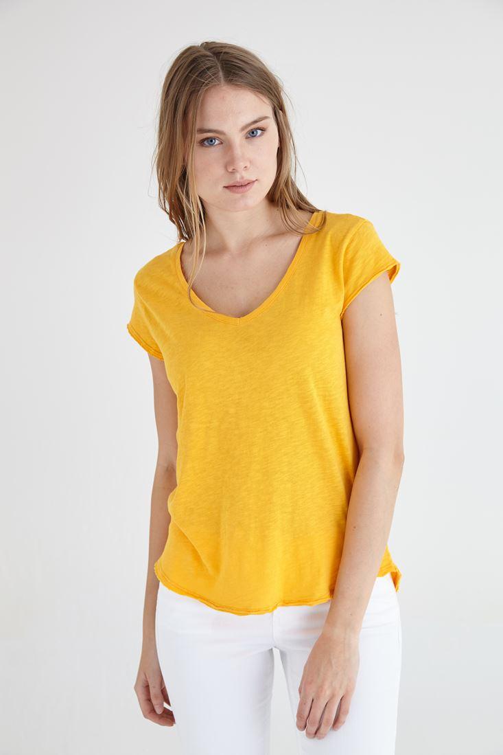 Bayan Sarı V Yaka Pamuklu Kısa Kollu Tişört