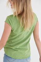 Bayan Yeşil V Yaka Pamuklu Kısa Kollu Tişört