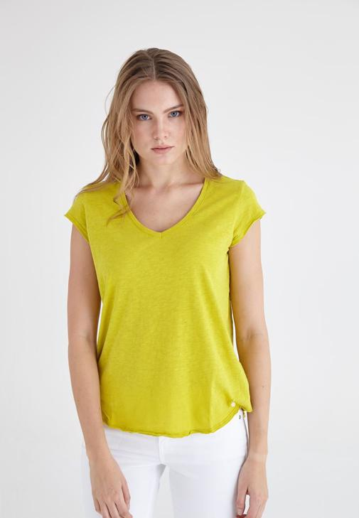 Sarı V Yaka Pamuklu Kısa Kollu Tişört
