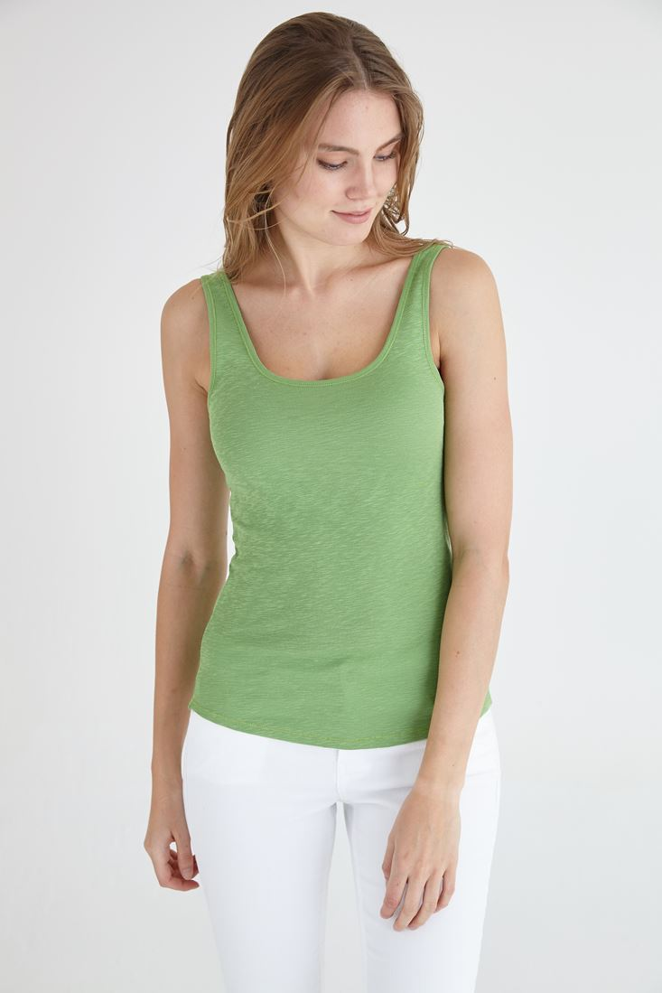 Bayan Yeşil U Yaka Basic Atlet