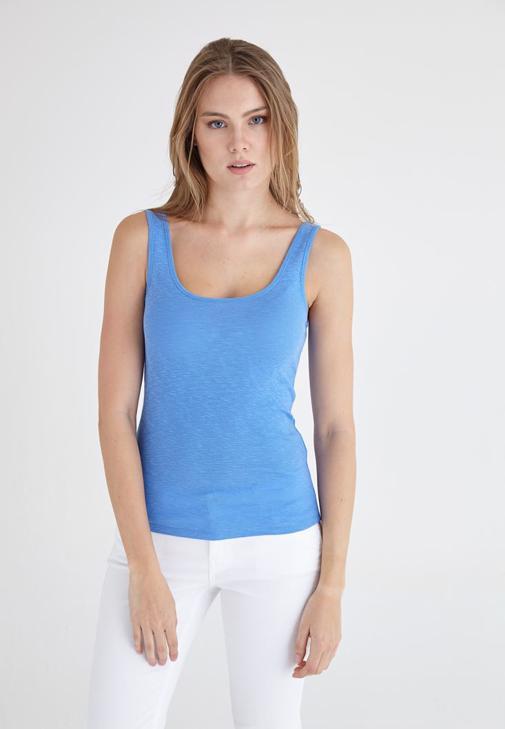 Mavi U Yaka Basic Atlet