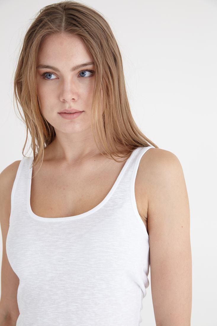 Bayan Beyaz U Yaka Basic Atlet
