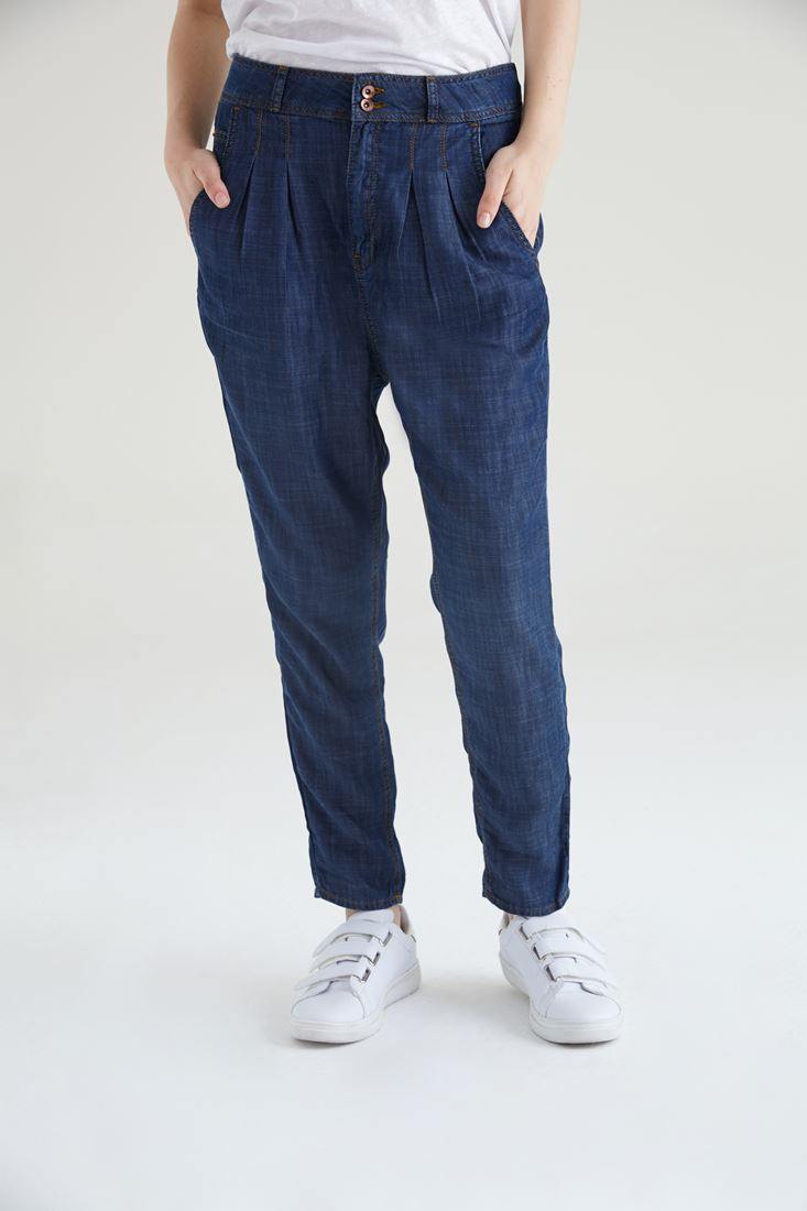 Blue Denim Look Tapered Trouser