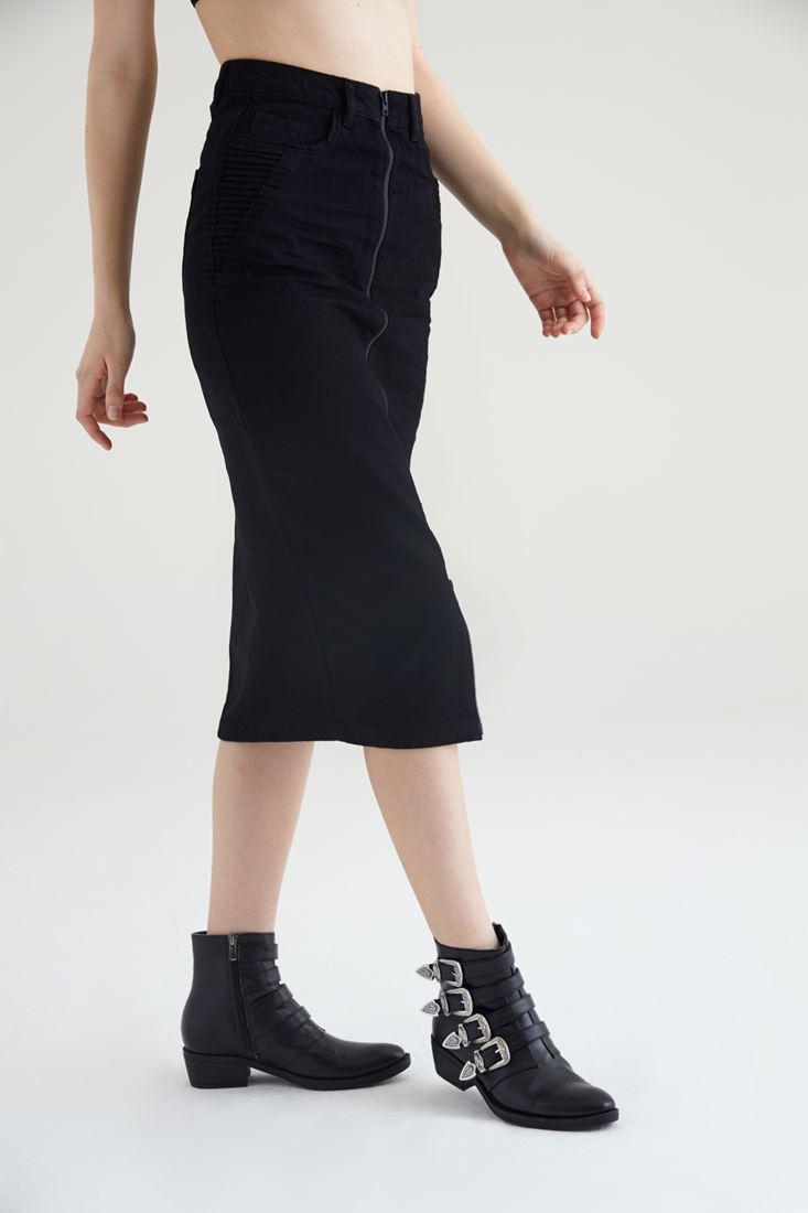 Bayan Siyah Fermuar Detaylı Kot Etek