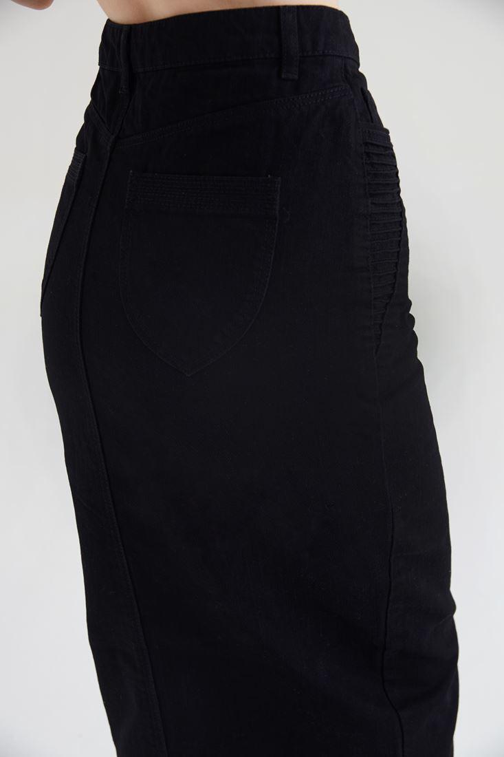 Siyah Fermuar Detaylı Kot Etek Online Alışveriş 16kox Helen Oxxo