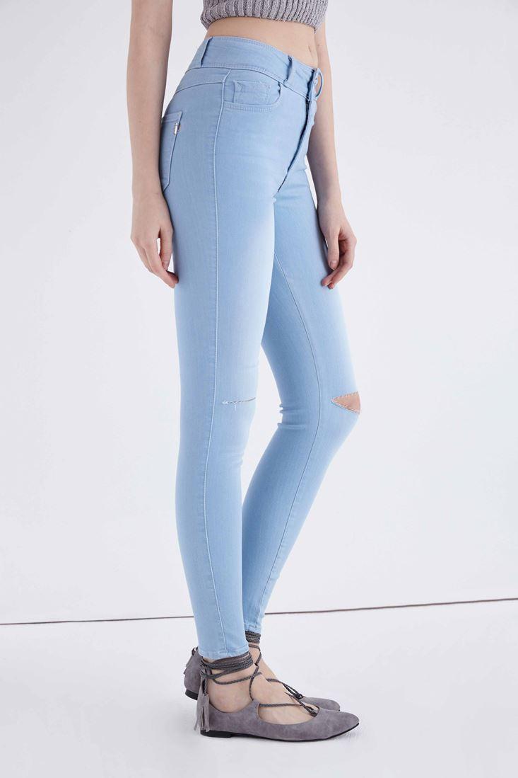 Bayan Mavi Yüksek Bel Esnek Skinny Jean