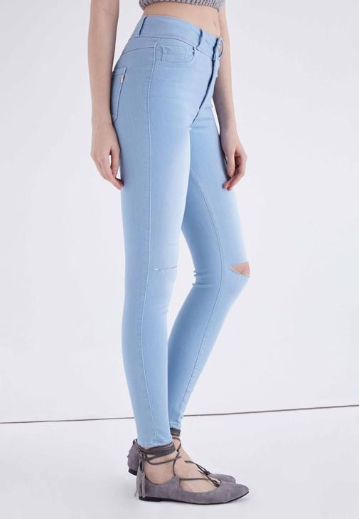 Mavi Yüksek Bel Esnek Skinny Jean