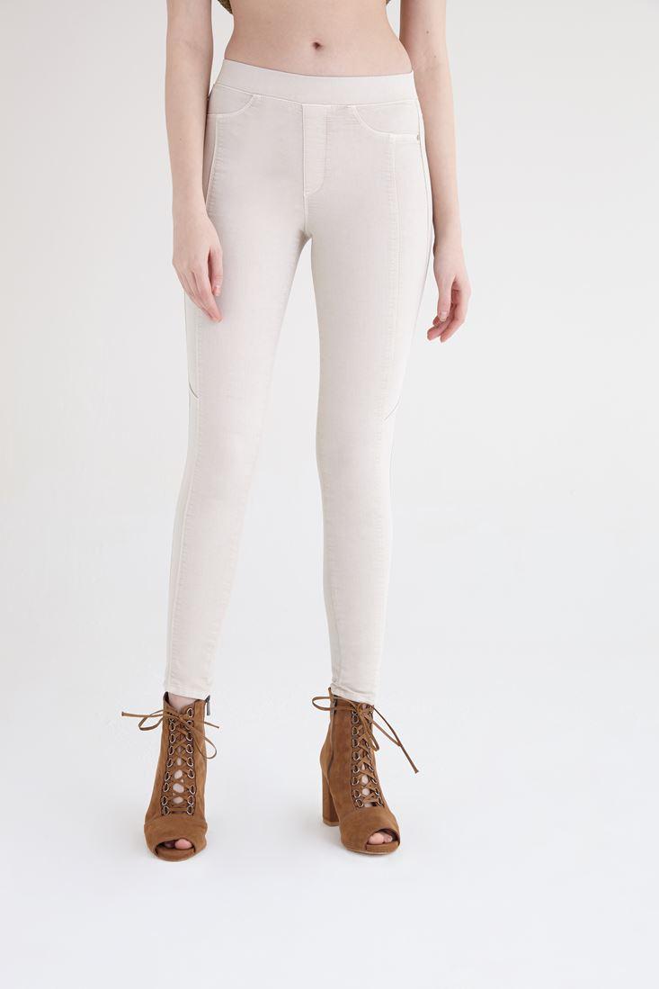 Bayan Krem Yüksek Bel Tayt Pantolon