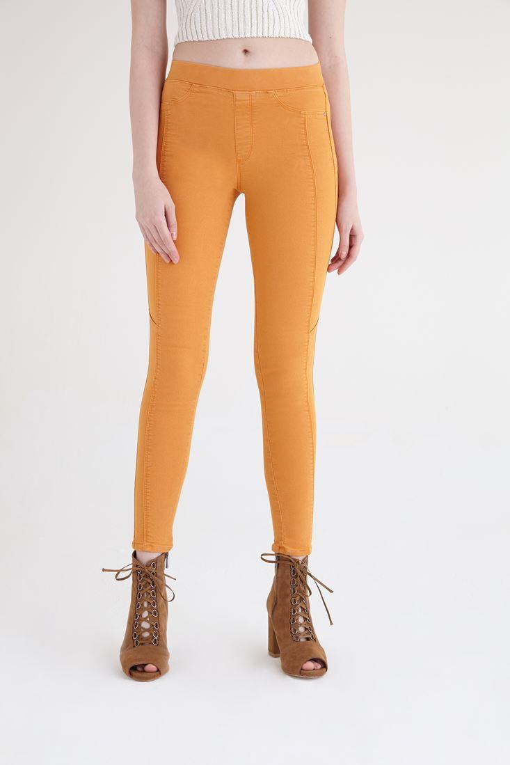 Bayan Turuncu Yüksek Bel Tayt Pantolon