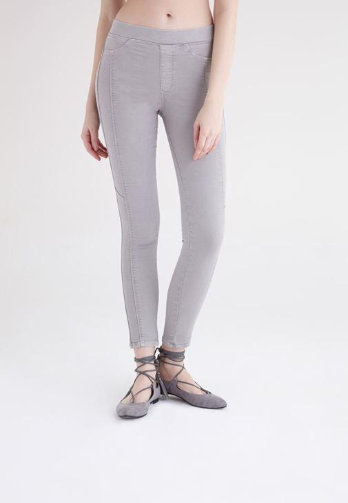 Gri Yüksek Bel Tayt Pantolon