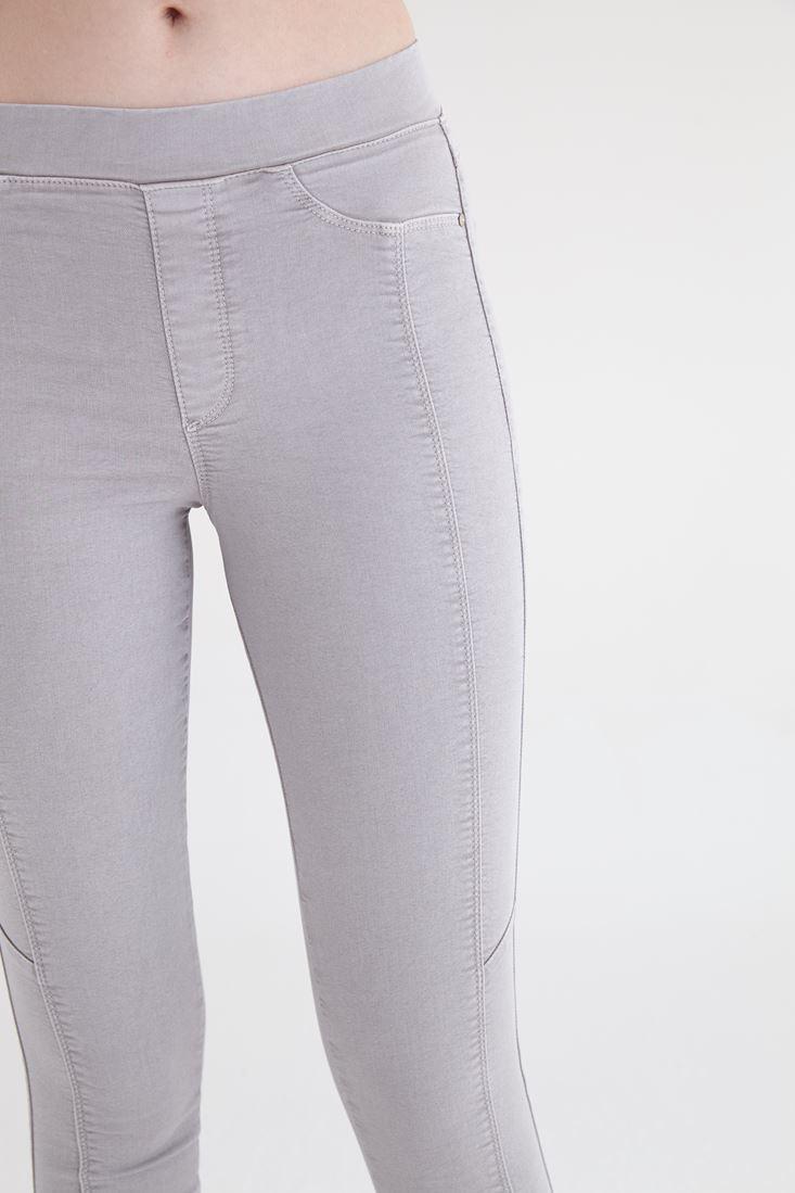 Bayan Gri Yüksek Bel Tayt Pantolon